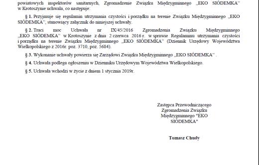"""Informacja Związku Międzygminnego """"EKO SIÓDEMKA"""""""