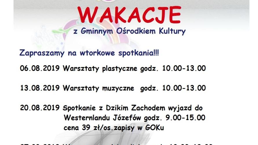 plakat z programem wakacji z GOK