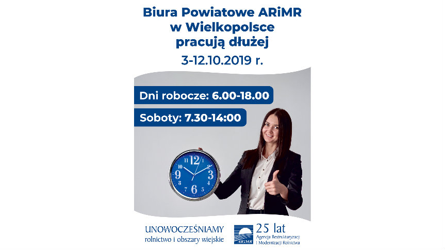 plakat - informacja o przedłużonym czasie pracy biura ARMiR w Krotoszynie