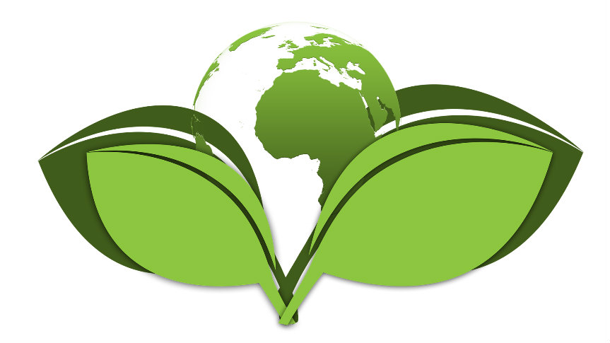kula ziemska w otoczeniu dwóch zielnych liści
