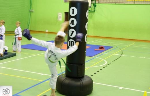Dzieci podczas treningu taekwondo