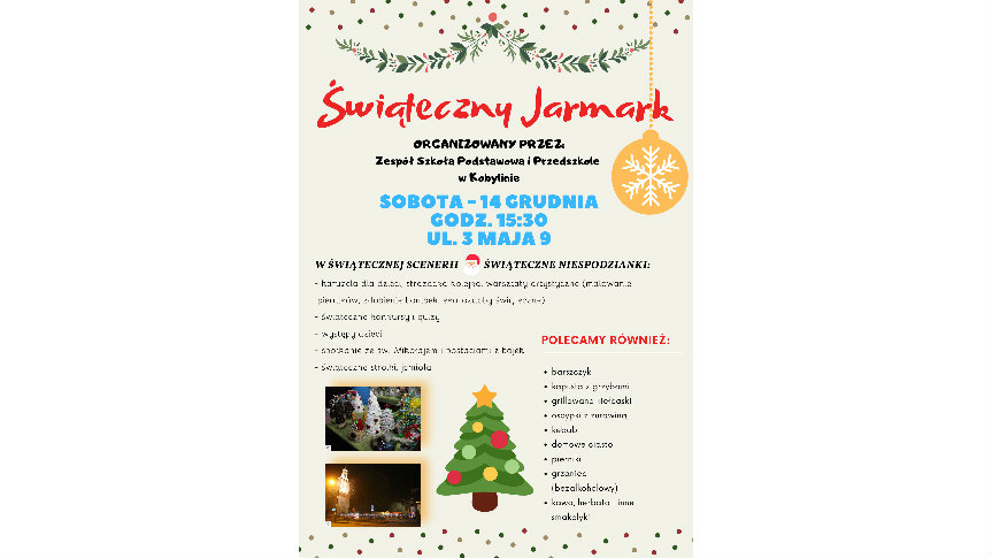 Plakat z informacją o Świątecznym Jarmarku