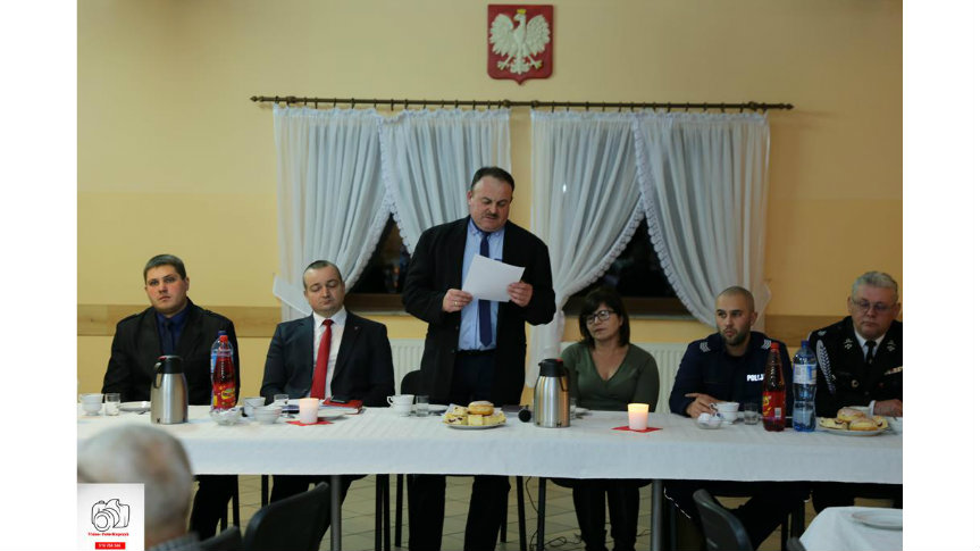 Wystąpienie sołtysa Dariusza Małeckiego podczas zebrania