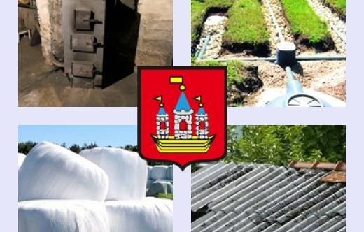 Grafika: herb gminy, piec kopciuch, eternit, przydomowa oczyszczalnia ścieków i folie rolnicze