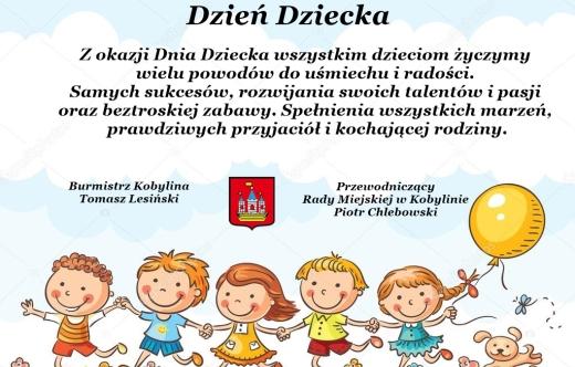 Grafika zawiera życzenia z okazji Dnia Dziecka.