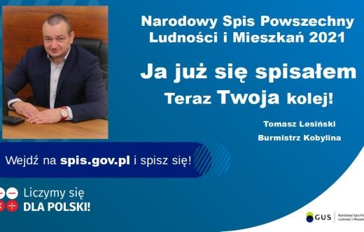 Ulotka NSP z zdjęciem Burmistrza Kobylina i promowaniem spisu.
