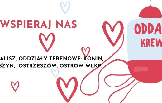 baner zawierający informację o miejscach, gdzie można oddać krew