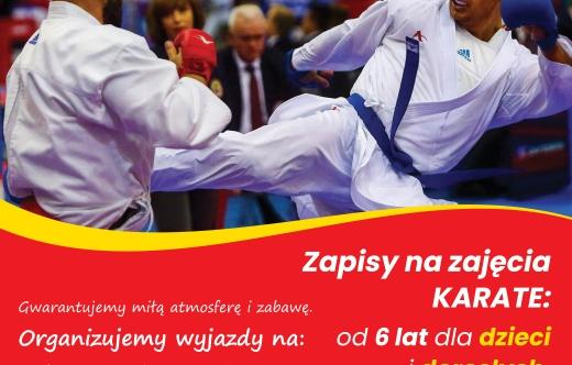 Grafika przedstawia plakat dot. zapisów na zajęcia karate.