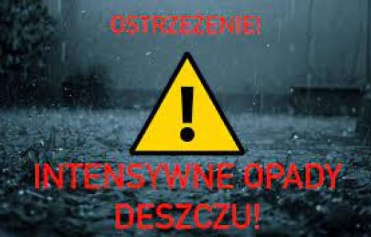ostrzeżenie, intensywne opady deszczu