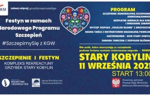 """Informacja Festyn #SzczepoimySię z KGW w dniu 11.09.2021 r. od godz. 13.00 w Kompleksie Rekreacyjnym """"Grzybek"""""""