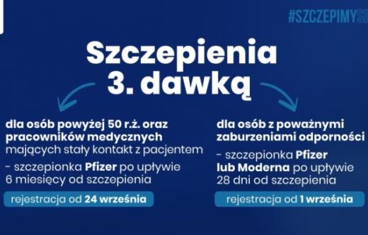 informacja o szczepieniu 3  dawką preparatu przeciw Covid-19
